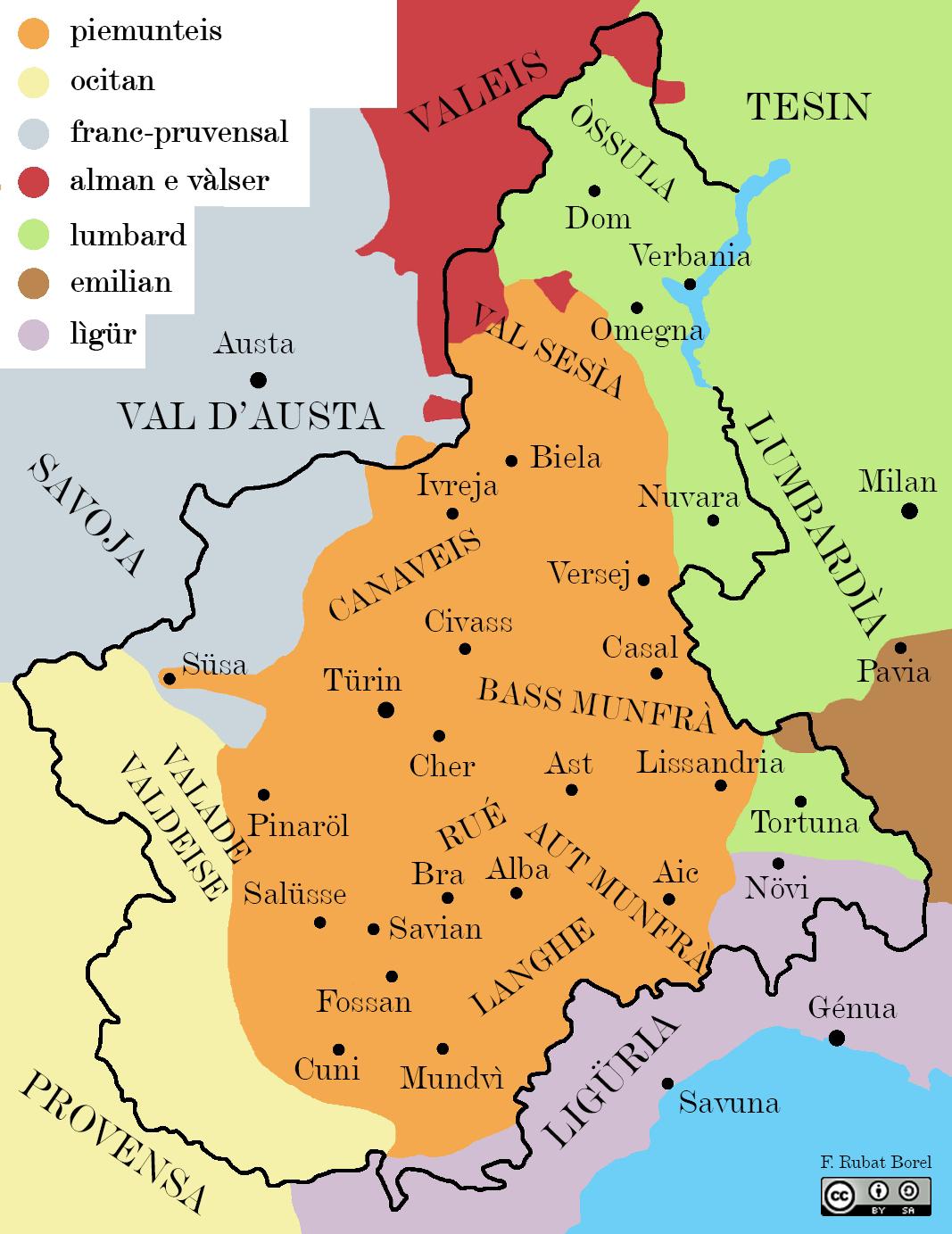 La Cartina Del Piemonte.Mappa Linguistica Del Piemonte